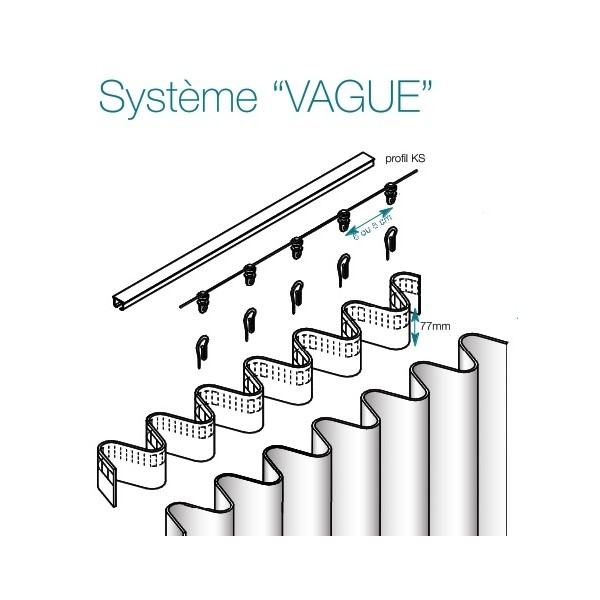 "Tringle complete droite KS avec systeme ""vague"""